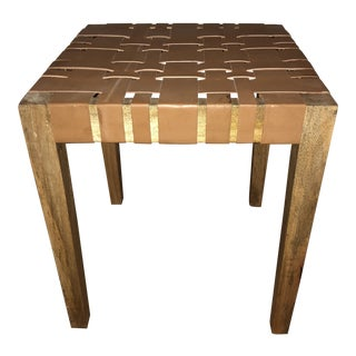 Genuine Leather and Mango Wood Stool