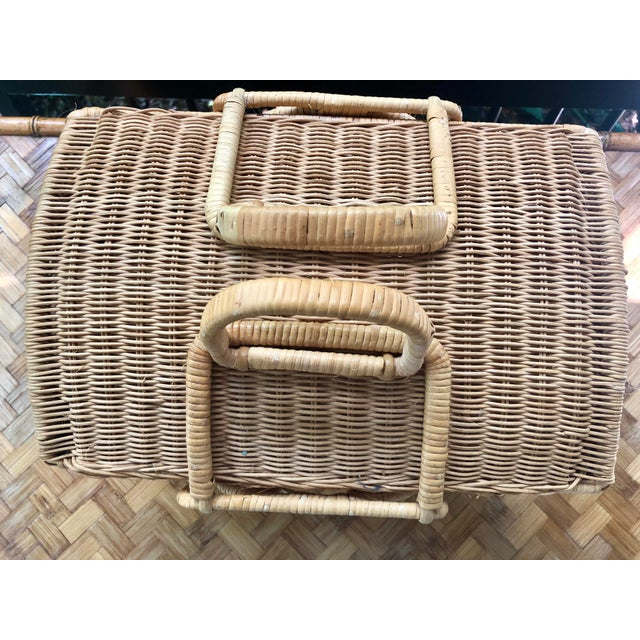 Early 20th Century 20th Century Boho Chic Natural Woven Wicker Picnic Basket For Sale - Image 5 of 11