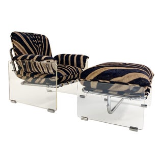 Pace Collection Argenta Lucite and Chrome Lounge Chair and Ottoman in Zebra Hide For Sale