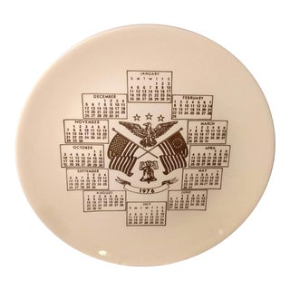 1976 American Flag Decorative Calendar Plate For Sale