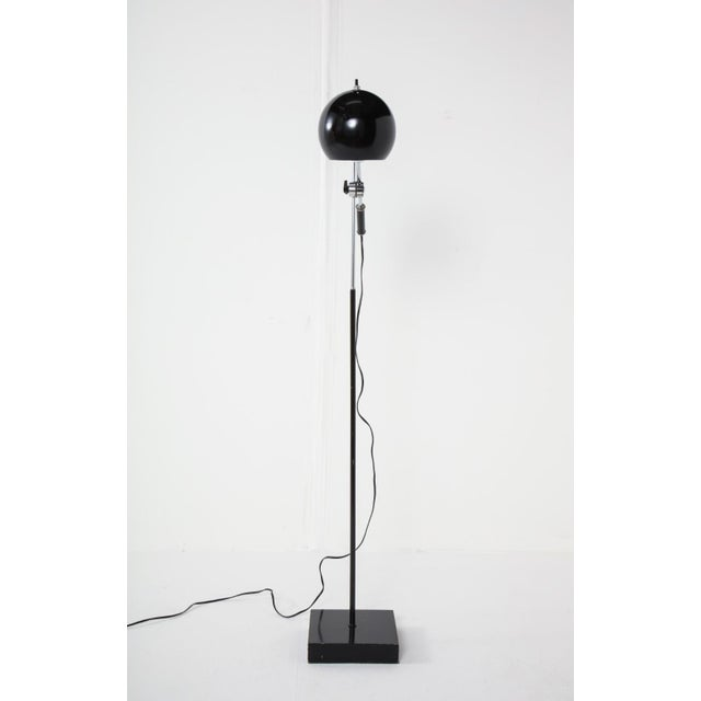 Black Mid-Century Chrome and Black Adjustable Floor Lamp For Sale - Image 8 of 12