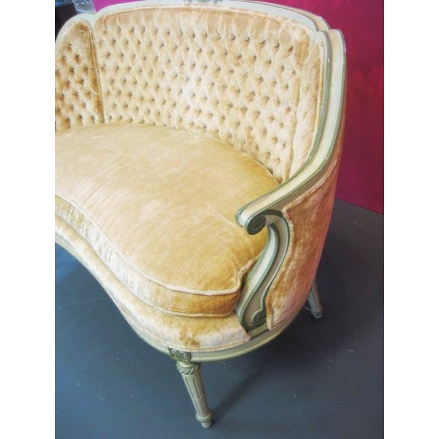 Louis XV Style Yellow Loveseat - Image 4 of 5