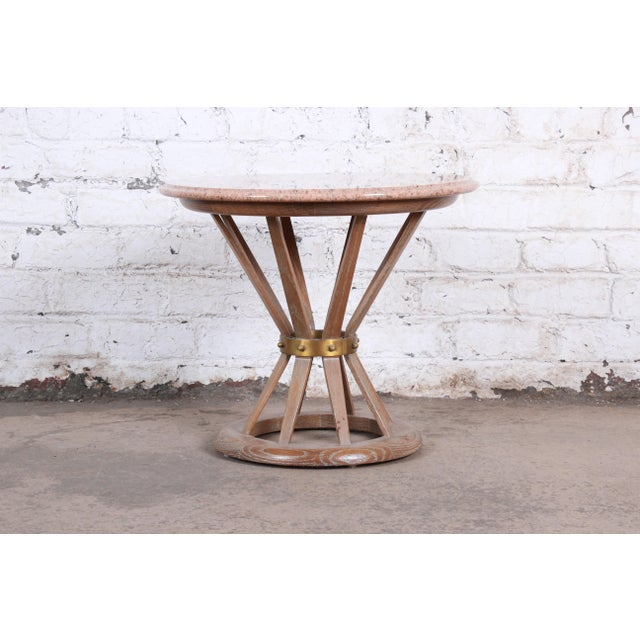 Edward Wormey for Dunbar Style Sheaf of Wheat Marble Top Side Table For Sale - Image 11 of 11