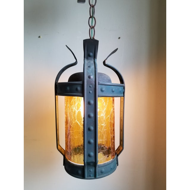 Antique Art & Craft Copper & Amber Glass Lantern For Sale - Image 10 of 11