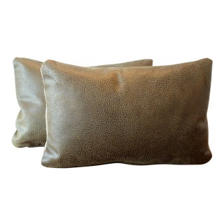 Embossed Italian Leather Lumbar Pillow Covers - A Pair