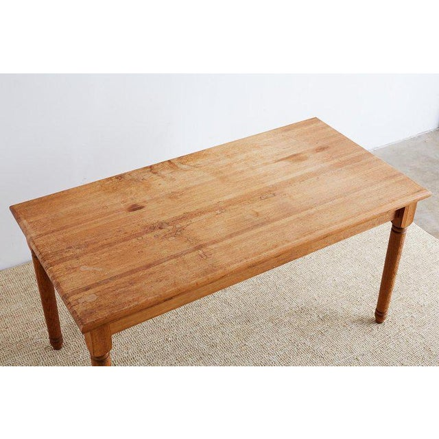 Rustic American Oak Butcher Block Style Farm Table For Sale - Image 3 of 13