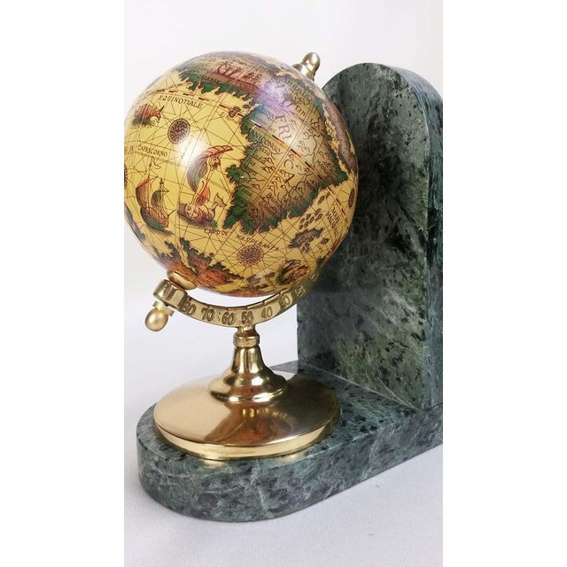 Marble Old World Globe Bookends on Solid Green Marble - A Pair For Sale - Image 7 of 7