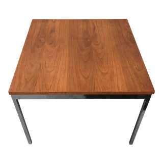 Square Chrome and Walnut Side / Accent Table For Sale