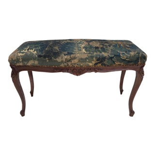 18th C Tapestry French Walnut Bench For Sale