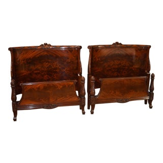 1960s Regency Style Carved Mahogany Bedframes - a Pair For Sale