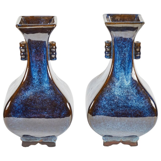 Pair of Mid-Century Blue and Brown Glazed Pottery Vases From France Circa 1950 For Sale