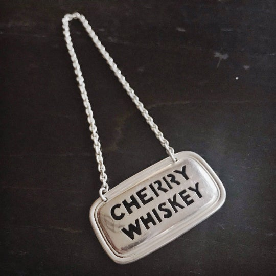 Tiffany and Co. Vintage Tiffany & Co Sterling Liquor Decanter Tag - Cherry Whiskey For Sale - Image 4 of 4