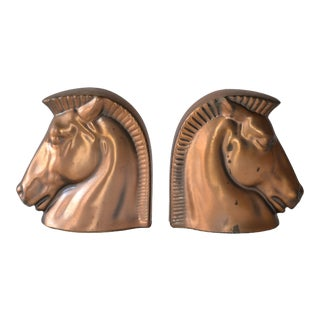 Vintage Art Deco Bronze Horse Bookends - A Pair