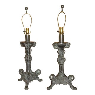Pair of Ornate Baroque Style Verdi Finish Metal Lamps For Sale