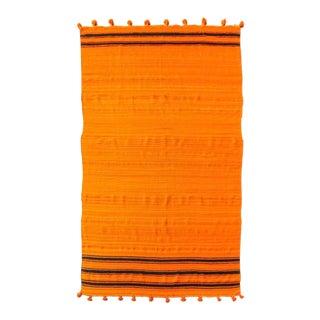 Vintage Moroccan Orange Wool Kilim Rug - 5'10'' X 9'10'' For Sale