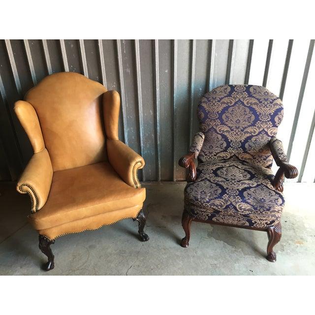 Mahogany Library & Wing Chair - Pair - Image 2 of 11