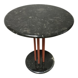 Post Modern Black Marble Round Cafe Table For Sale