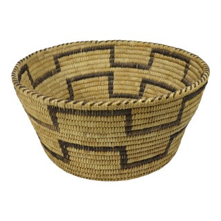 1930s Native American Hand Woven Fiber Basket For Sale
