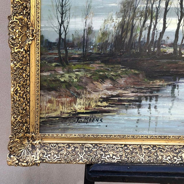 Antique Framed Oil Painting on Canvas Signed T. Moens For Sale In Dallas - Image 6 of 11
