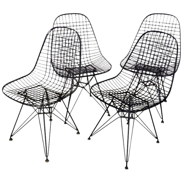 Eames for Herman Miller DKR Wire Chairs on Eiffel Bases - Set of 4 For Sale