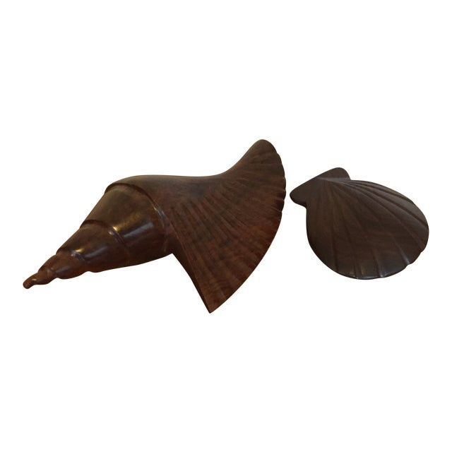 Pair of Dark Carved Wood Shells For Sale