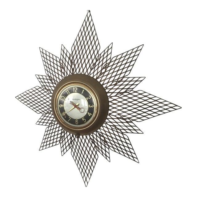 Brass Starburst Wall Clock - Image 1 of 7