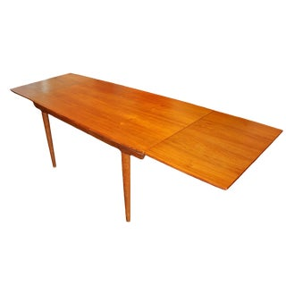 Teak Danish Surfboard Dining Table & Two Retractable Extension Leaves