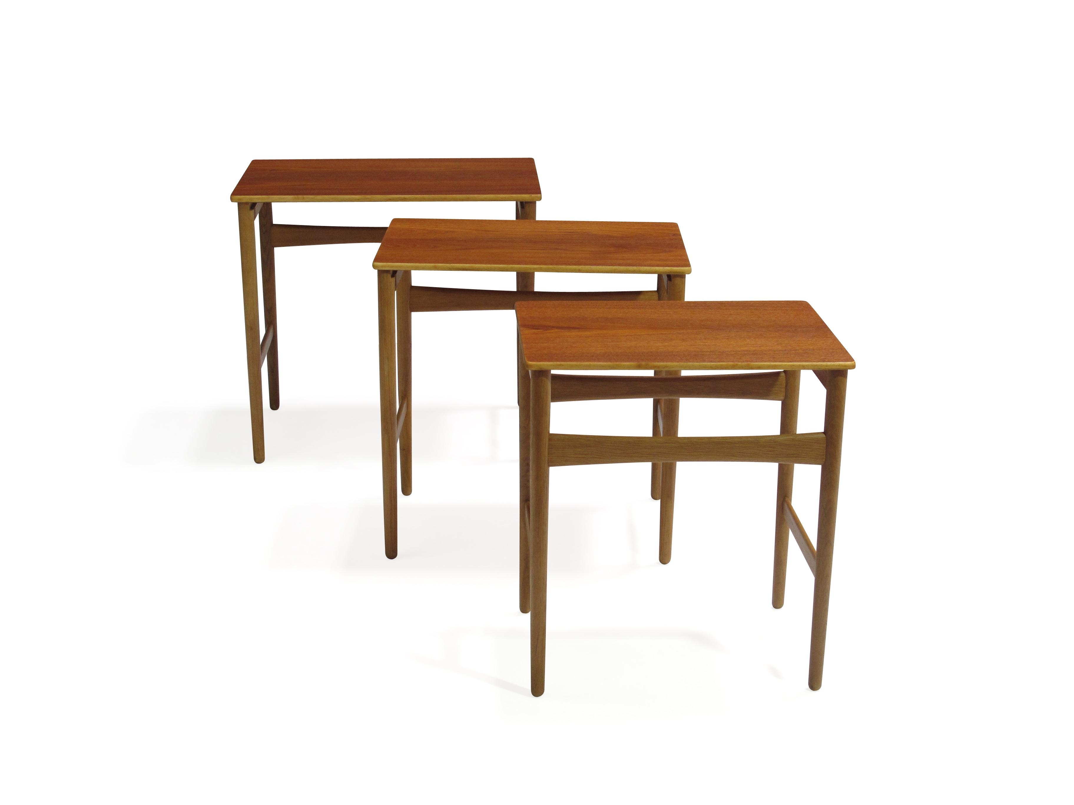 Hans Wegner Danish Teak And Oak Nesting Tables Finely Restored And In  Excellent Condition. Stamped