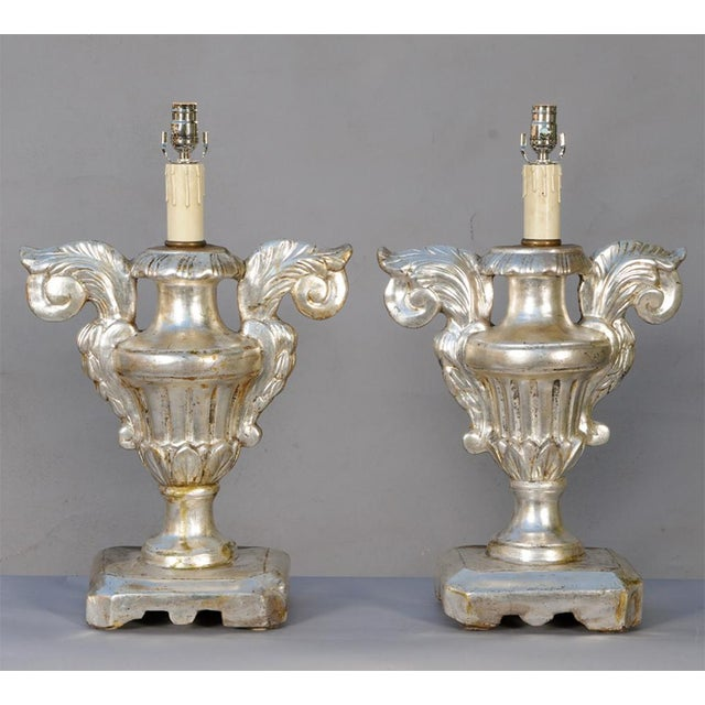 Italian Pair of 19th Century Silvergilt Pricket Base Urn Lamps For Sale - Image 3 of 8