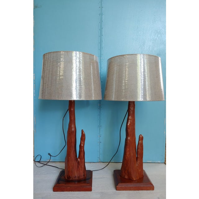 Mid-Century Modern Mid-Century Old Florida Cypress Knee Lamps - a Pair For Sale - Image 3 of 11