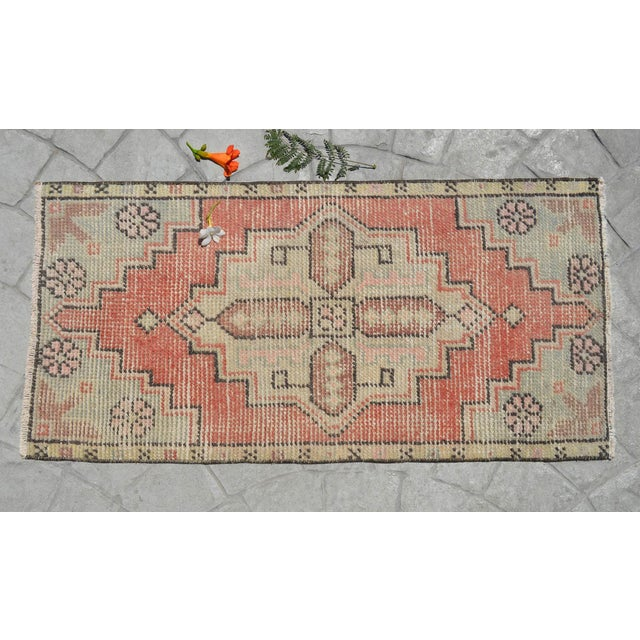 """1970s Hand Knotted Door Mat, Entryway Rug, Bath Mat, Kitchen Decor, Small Rug, Turkish Rug - 1'7"""" X 3'2"""" For Sale - Image 5 of 5"""