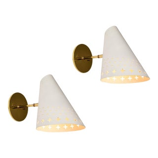1950s Danish Perforated Sconces Attributed to Bent Karlby - a Pair For Sale