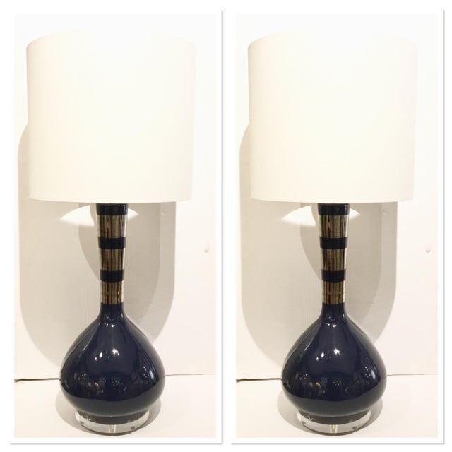 Ceramic Modern Indigo Blue and Silver Banded Metallic Glazed Table Lamps Pair For Sale - Image 7 of 7