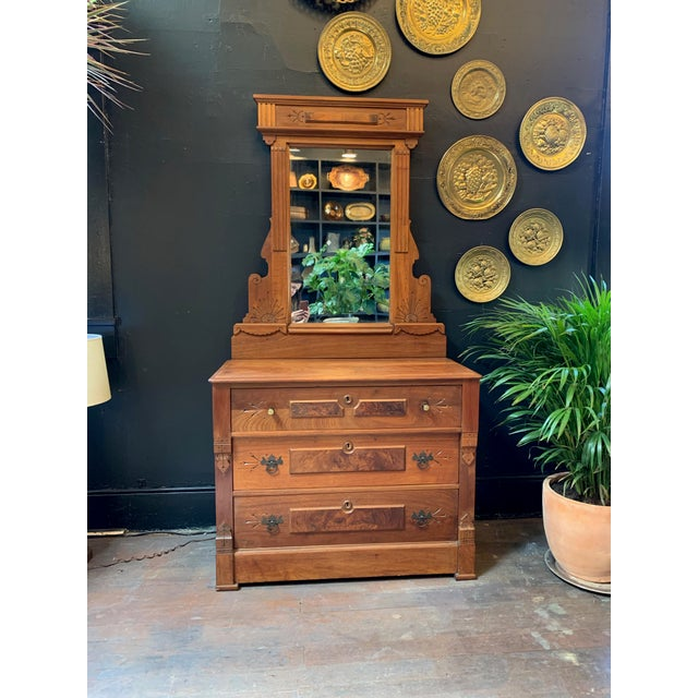 Glass Vintage East Lake Dresser With Mirror For Sale - Image 7 of 7