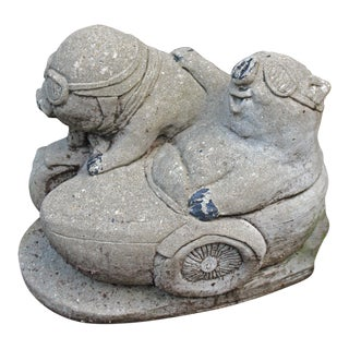 Mid-20th Century Cast Stone Pig Garden Ornament For Sale