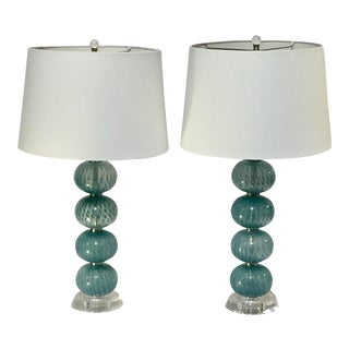 Boho Chic MagMile Lighting Co. Aqua Blue Glass Orb Lamps - a Pair