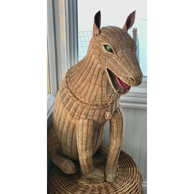 Children's 1950s Vintage Woven Wicker Dog Basket Glass Marble Eyes For Sale - Image 3 of 7