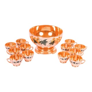 Vintage Fire King Peach Luster Punch Bowl Set - Set of 12