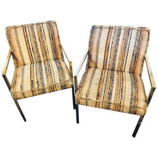 Pair of Swaim Mid-Century Modern Bronze Patinated Open Armchairs For Sale
