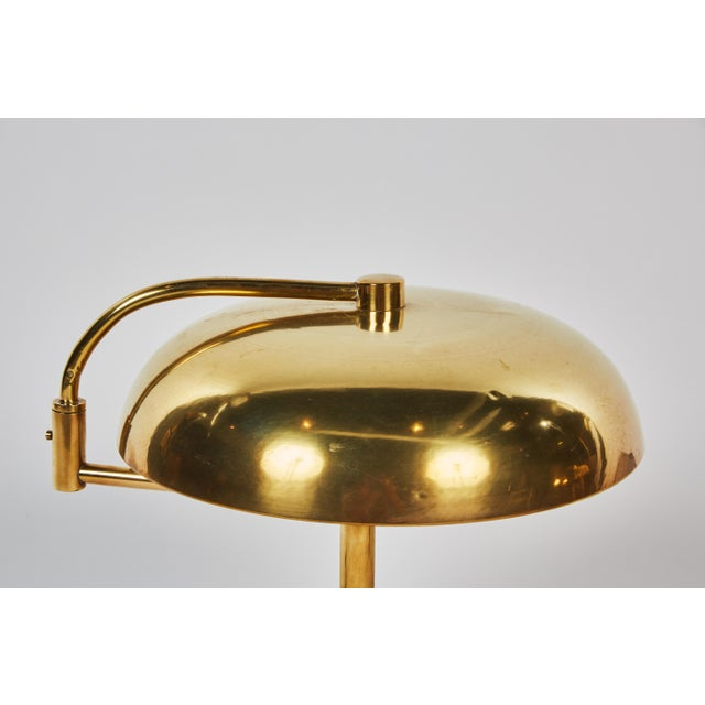 Unique Pair of Articulating French Brass and Wood Table Lamps For Sale In Los Angeles - Image 6 of 7