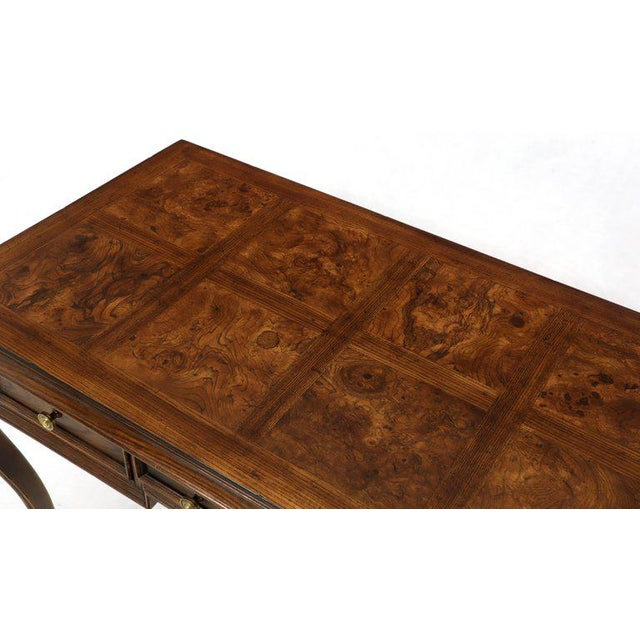 Henredon Cabriole Leg 3-Drawer Burl Wood Writing Table Desk Console For Sale - Image 12 of 13