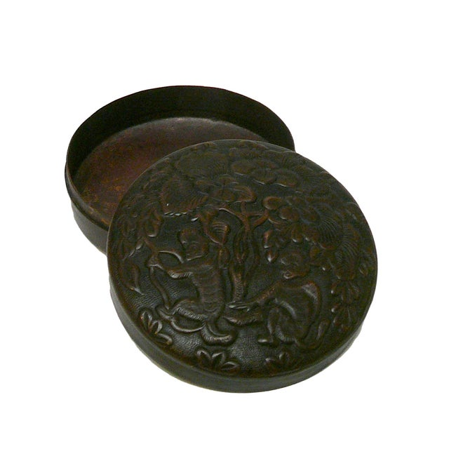Chinese Metal Bronze Trinket Box For Sale - Image 4 of 5