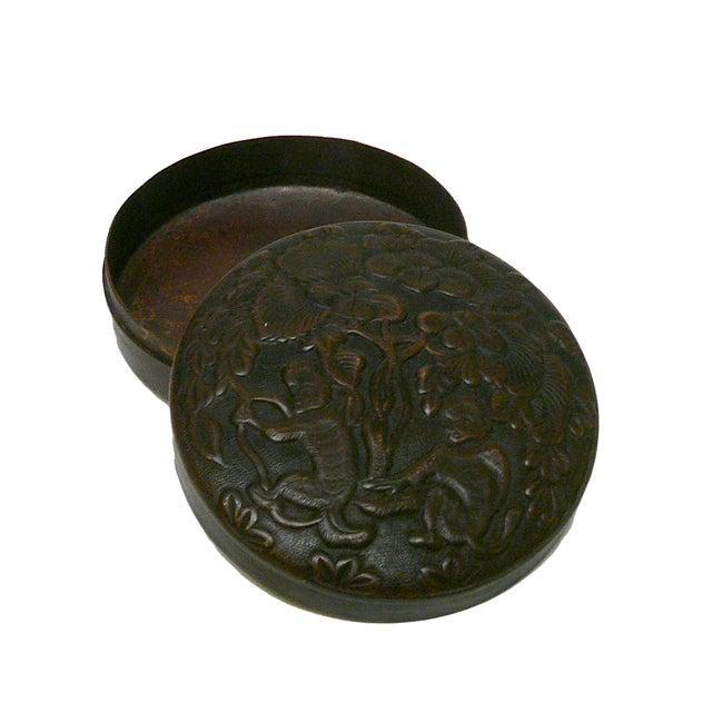 Chinese Metal Bronze Trinket Box - Image 4 of 5