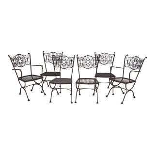 1960s Boho Chic Woodard Andalusian Wrought Patio Chairs - Set of 6 For Sale