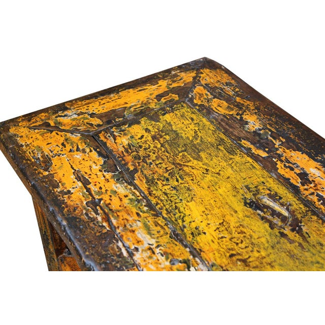 Distressed Orange Chinese Rustic Table - Image 6 of 7