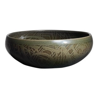 Nils Thorsson Green Ceramic Bowl for Royal Copenhagen, 1950s For Sale