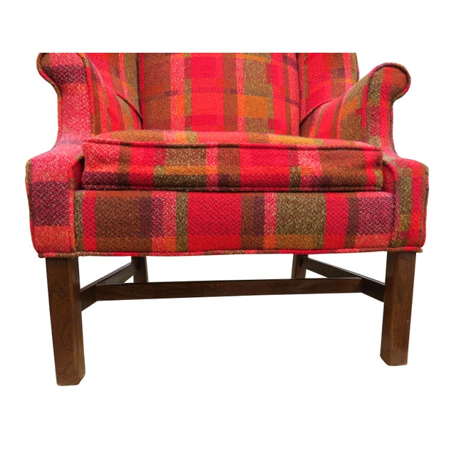 Red Vintage Mid-Century Flexsteel Georgian Style Wingback Chair For Sale - Image 8 of 13