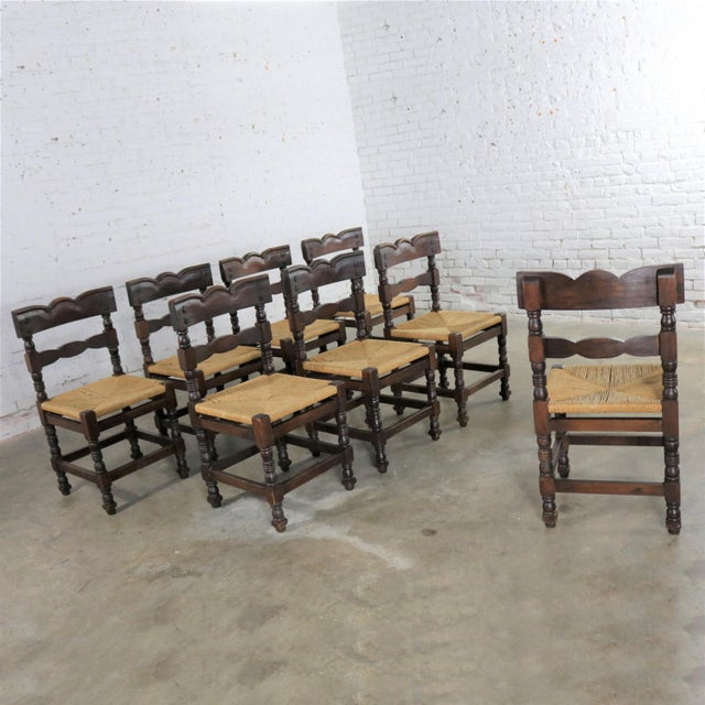 Brown Spanish Colonial Style Dining Chairs With Rush Seats Stamped Hecho en Mexico For Sale - Image 8 of 13