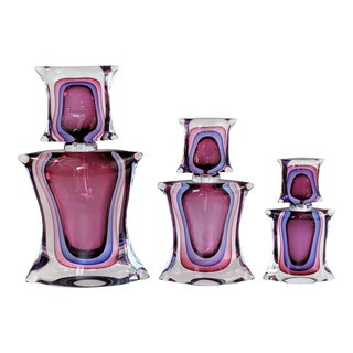Murano Glass Sommerso Parfume Decanter by Luigi Onesto Signed - Set of 3 For Sale