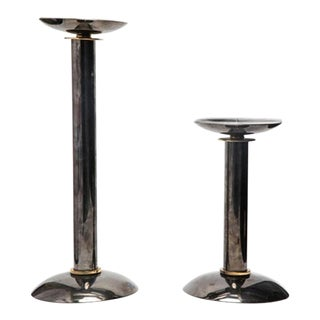 Modern Pillar Candlesticks in Metal & Brass - a Pair For Sale